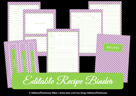 EDITABLE Recipe Binder Printables - Purple Green - INSTANT DOWNLOAD