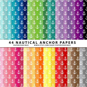 "Nautical Waves 1 Digital Paper Pack 12"" x 12"" (44 colors) INSTANT DOWNLOAD"