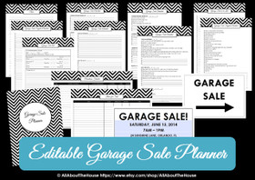 GREEN - EDITABLE - Garage Sale Planner -  Yard Sale Organizer - Chevron Printable  - INSTANT DOWNLOAD