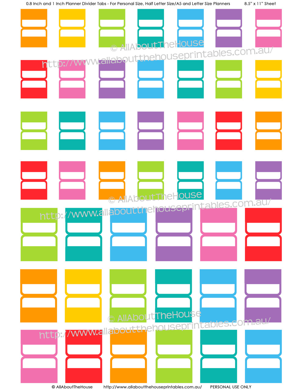 photograph relating to Printable Tabs named Printable Planner Tabs - Rainbow Everyday and Weekly Planner Include Upon - Erin Condren Sizing Suitable - Plan Business