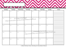EDITABLE Perpetual Calendar - Style 2 - Pink 5 - INSTANT DOWNLOAD