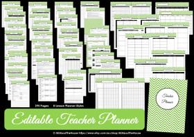 LIGHT BLUE - EDITABLE - Teacher Planner - Instant Download