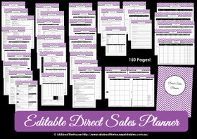 DARK BLUE Direct Sales Planner - Editable - Instant Download