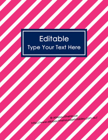 "EDITABLE Binder Cover - Letter Size (8.5 x 11"") - Style 4 - 81 (pink), 21 (navy)"