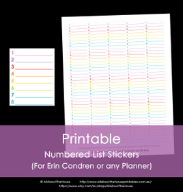Printable Calendar /  Planner Stickers - Numbered - Erin Condren size (can be used for other planners) - 12 Colours including Rainbow