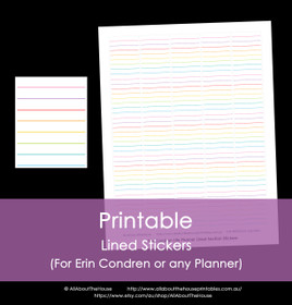 Printable Calendar /  Planner Stickers - Lined - Erin Condren size (can be used for other planners) - 12 Colours including Rainbow