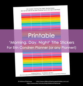Printable Calendar /  Planner Stickers - Morning, Day Night Title Size for Erin Condren (can be used for other planners and any type of planning) - 12 Colours including Rainbow