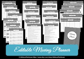 GREY - EDITABLE - Moving Planner Binder Chevron Printable - Instant Download