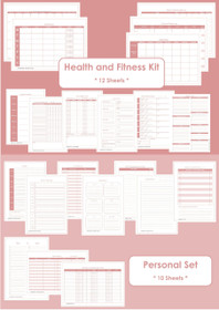 BLACK - Health and Fitness + Personal Set - Simple Planner Series - Instant Download
