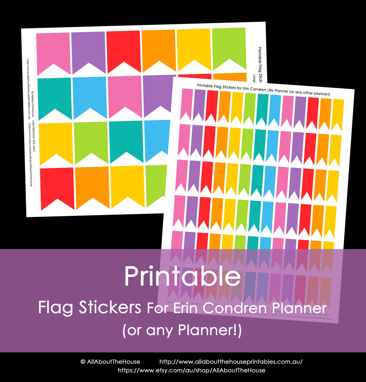 picture regarding Printable Flags identify Printable Calendar / Planner Stickers - Flags - Rainbow