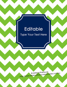 "EDITABLE Binder Cover - Letter Size (8.5 x 11"") - Style 5 - 40 (green), 21 (navy)"