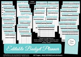 EDITABLE DARK BLUE Budget Planner Printables - Instant Download