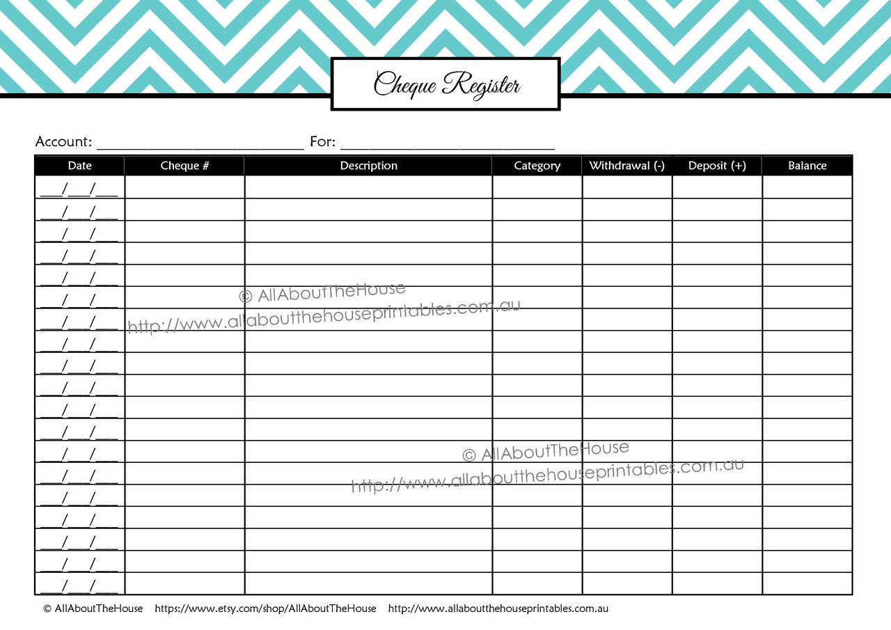 photo about Budget Planner Printables referred to as Chequebook Sign-up - EDITABLE - All 7 Hues - Finance//Budgeting Planner Printables