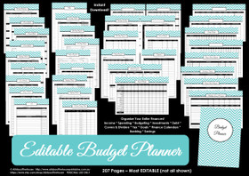 EDITABLE BLACK Budget Planner Printables - Instant Download