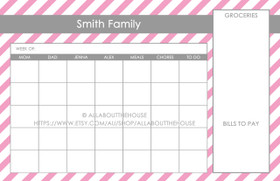 "11 x 17"" Printable Dry Erase Calendar - Message Centre - Optional Pattern & Colour Change"