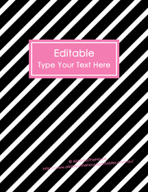 "EDITABLE Binder Cover - Letter Size (8.5 x 11"") - Style 4 - black (118), pink (71)"