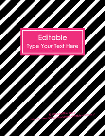 "EDITABLE Binder Cover - Letter Size (8.5 x 11"") - Style 4 - black (118), hot pink (81)"