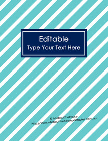 "EDITABLE Binder Cover - Letter Size (8.5 x 11"") - Style 4 - light blue (6), navy (21)"