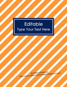 "EDITABLE Binder Cover - Letter Size (8.5 x 11"") - Style 4 - orange (99), navy (21)"