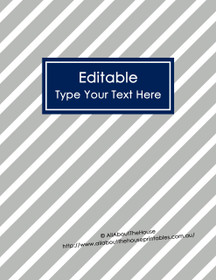 "EDITABLE Binder Cover - Letter Size (8.5 x 11"") - Style 4 - grey (114), navy (21)"