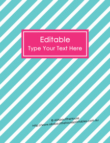 "EDITABLE Binder Cover - Letter Size (8.5 x 11"") - Style 4 - blue (6), pink (81)"