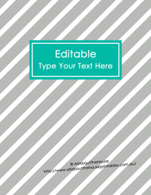 "EDITABLE Binder Cover - Letter Size (8.5 x 11"") - Style 4 - grey (114), blue/teal (29)"