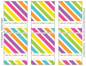 "FREE Rainbow Bookplate Labels - 3 x 4"""