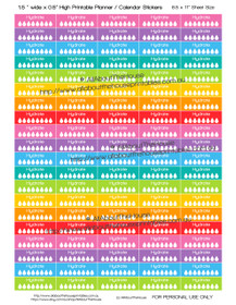 "Hydrate Water Intake Tracker Hydration Printable Calendar /  Planner Stickers - 1.5 x 0.5"" - Rainbow"