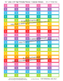 "Dollar Sign - Money - Budgeting - Printable Calendar /  Planner Stickers - 1.5 x 0.5"" - Rainbow"
