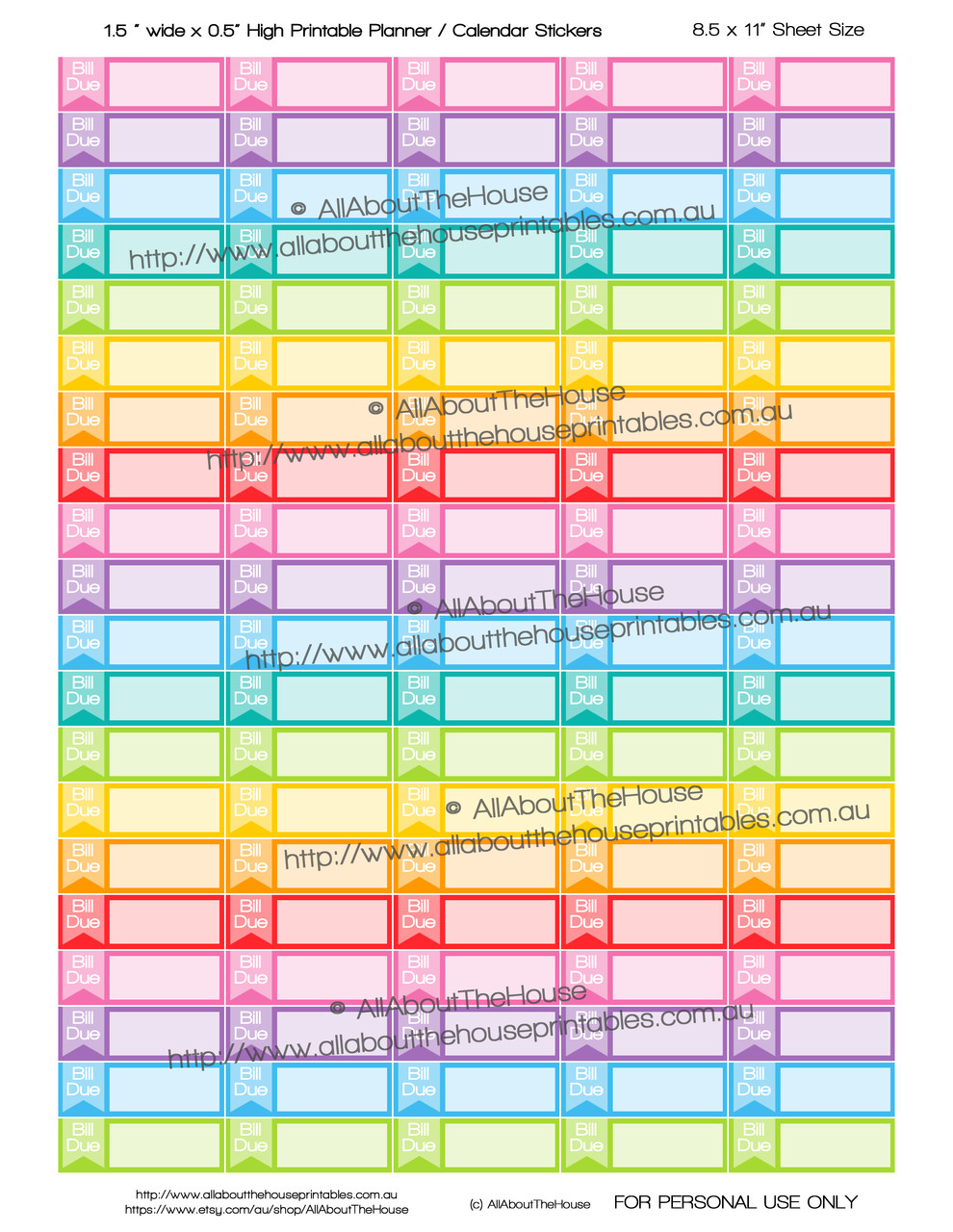photograph relating to Printable Calendar Stickers named Monthly bill Thanks Printable Calendar / Planner Stickers - 1.5 x 0.5\