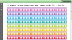 "Daily Routine Tasks Tracker - Printable Calendar /  Planner Stickers - 1.5 x 0.5"" - Rainbow"