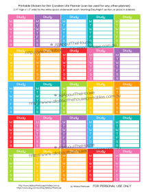 Study Printable Calendar /  Planner Stickers - Full Box - Erin Condren size (can be used for other planners)