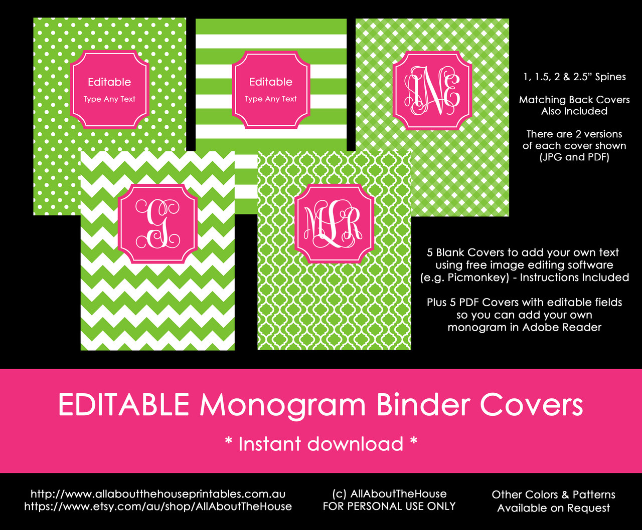 image about Binder Covers Printable named EDITABLE Monogram Binder Handles - 40 (eco-friendly), 81 (red)