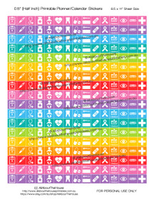 "Medical Set 1 Printable Calendar /  Planner Stickers - Half Inch (0.5"") Square - Rainbow"