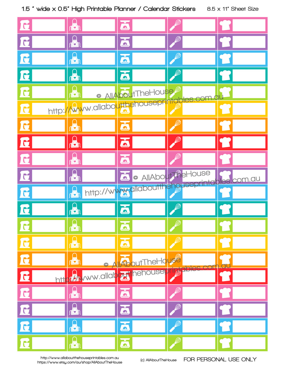 photo regarding Printable Planner Calendar named Baking - Printable Calendar / Planner Stickers - 1.5 x 0.5\