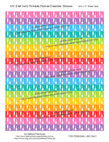 "Nail Polish - Manicure - Printable Calendar /  Planner Stickers - Half Inch (0.5"") Square - Rainbow"