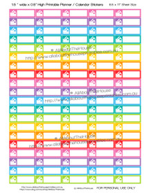 "Credit Card - Printable Calendar /  Planner Stickers - 1.5 x 0.5"" - Rainbow"