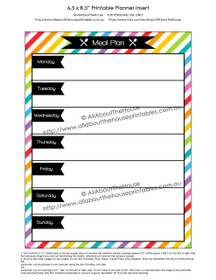 Meal Plan Planner Insert Printable