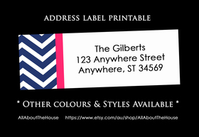 Printable Chevron Address Label - Avery 5160 Compatible (Style 1)