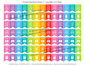 "Plan! Planners Stickers - Flags Printable - 1"" H x 0.75"" W - F008"