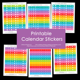 Printable Calendar / Planner Stickers - Rainbow Daily and Weekly Planner Add On - Agenda Organization