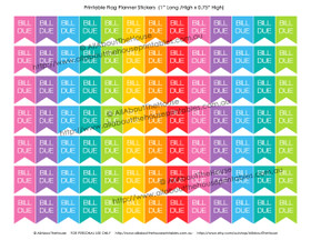 "Bill Due Planners Stickers - Flags Printable - 1"" H x 0.75"" W - F028"