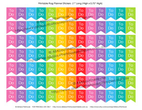 "To Do Planners Stickers - Flags Printable - 1"" H x 0.75"" W - F026"