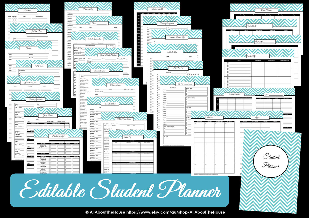 graphic relating to Printable Student Planner Download named Crimson - EDITABLE - University student Planner College Business enterprise Chevron Printable - Prompt Obtain