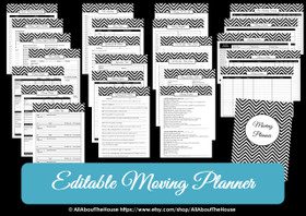 BLACK - EDITABLE - Moving Planner Binder Chevron Printable - Instant Download