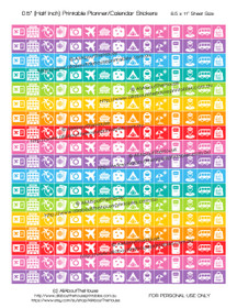 "Travel Planner Stickers Printable - Half Inch (0.5"") Square - Rainbow - #HIS015"