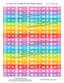 "Travel Planner Stickers Printable - Half Inch (0.5"") Square - Rainbow - #HIS016"