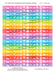 "Travel Planner Stickers Printable - Half Inch (0.5"") Square - Rainbow - #HIS017"