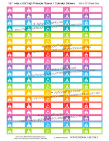 "Church Planner Stickers - 1.5 x 0.5"" - Rainbow - OL015"