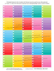 Heart Ombre Checklist Printable Planner Stickers - Full Box - Erin Condren size (can be used for other planners)